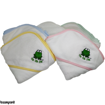 CrokCrokFrok Bamboo Hooded Towel for Baby & Toddler - White with Blue Border
