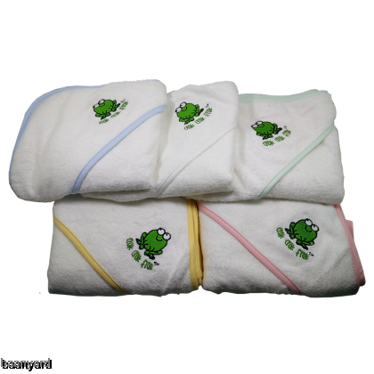 CrokCrokFrok Bamboo Hooded Towel for Baby & Toddler - White with Green Border