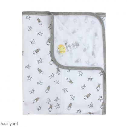 Single Layer Blanket Small Star & Sheepz White 0-36M