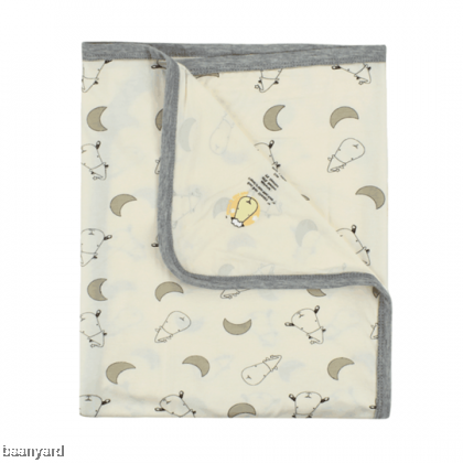 Single Layer Blanket Small Moon & Sheepz Yellow 0-36M