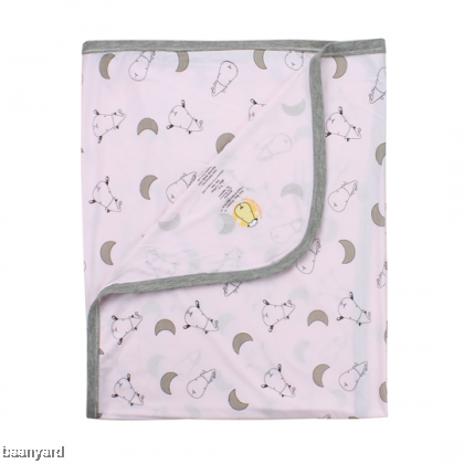 Single Layer Blanket Small Moon & Sheepz Pink 0-36M
