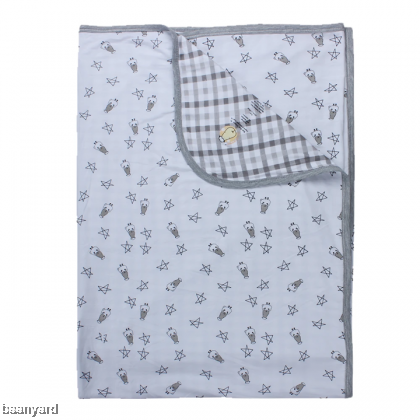 Double Layer Blanket Small Star Sheepz White + Checkers Grey 0-36M
